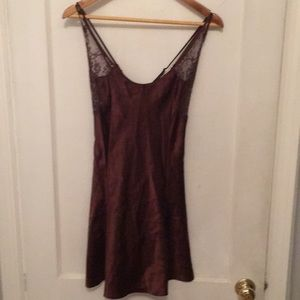 Chocolate colored satin slip